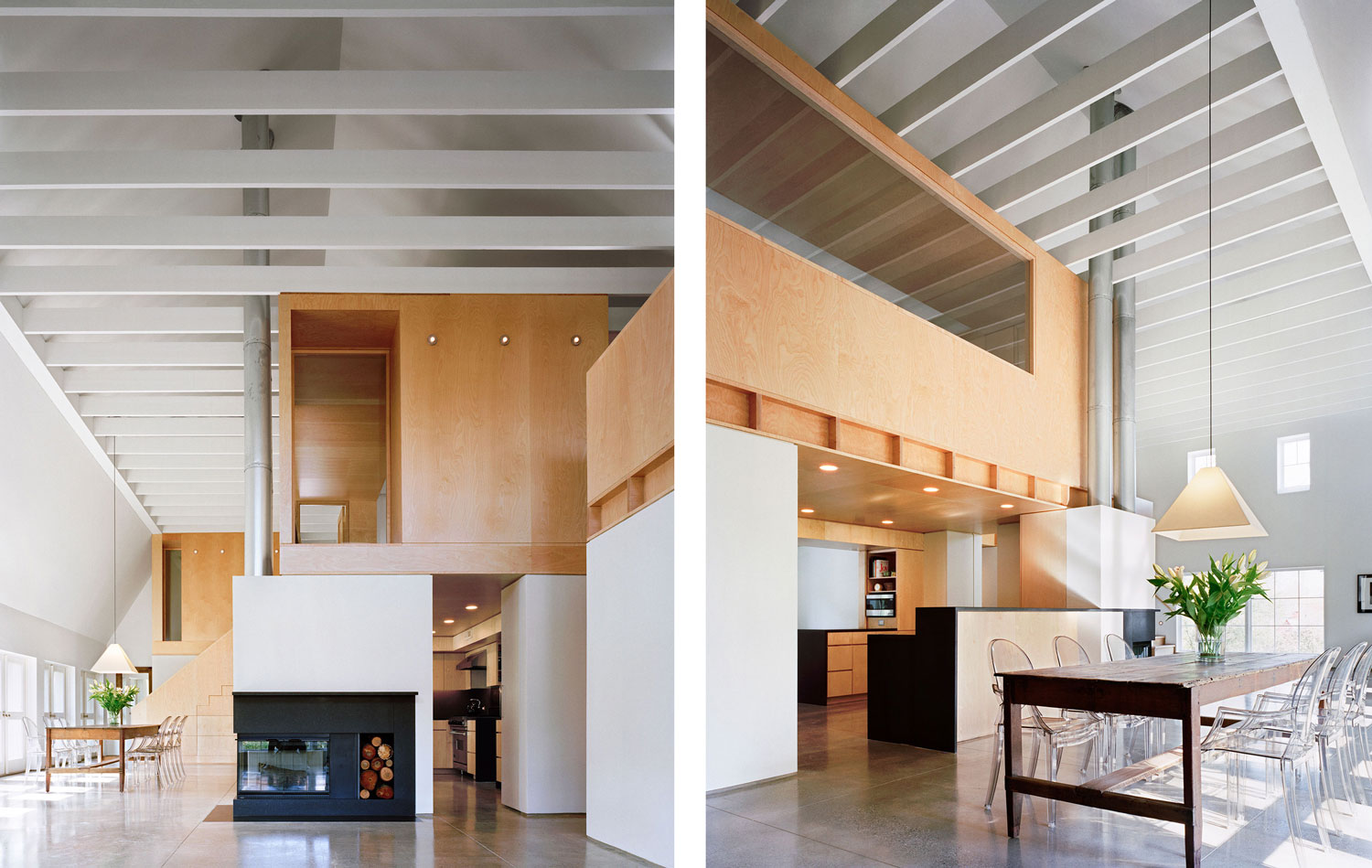 At the same time the design team radically restructured the interior of the barn removing the entire second floor and adding exterior buttresses to create